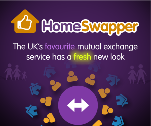 Homeswapper advertisement with a link to www.homeswapper.co.uk