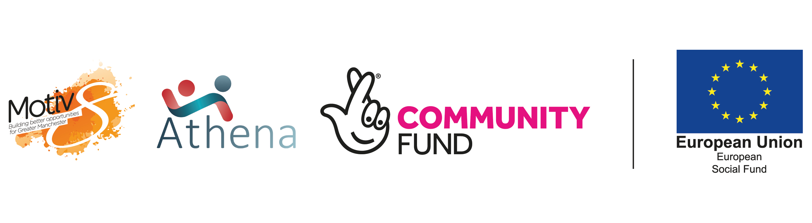 Logos of Motiv8, Manchester Athena, The National Lottery Community Fund and the European Social Fund