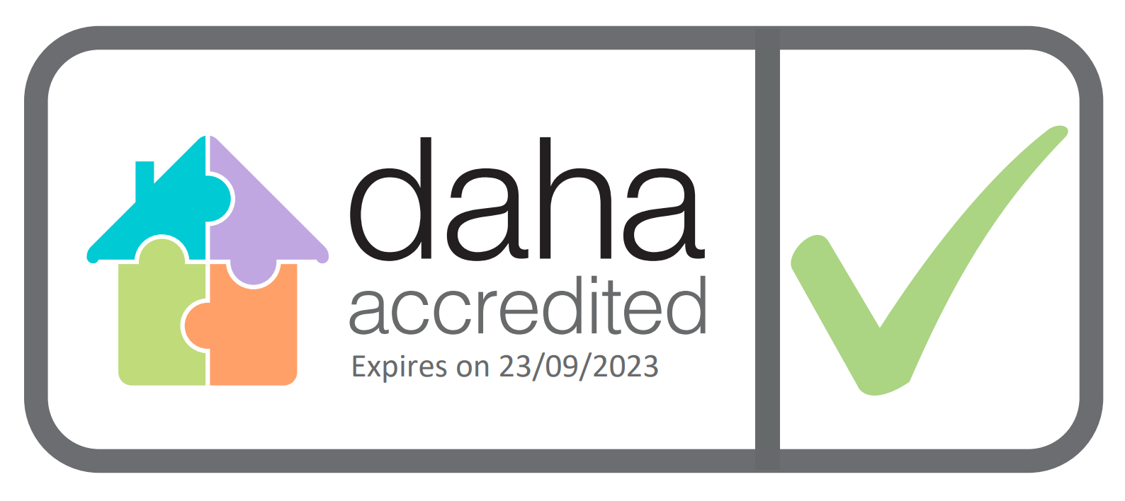 Decorative image displaying our DAHA accredited badge (accreditation expires 23.09.2023).