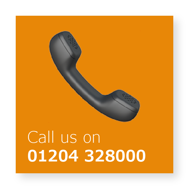 Icon reading 'Call us on 01204 328000'.