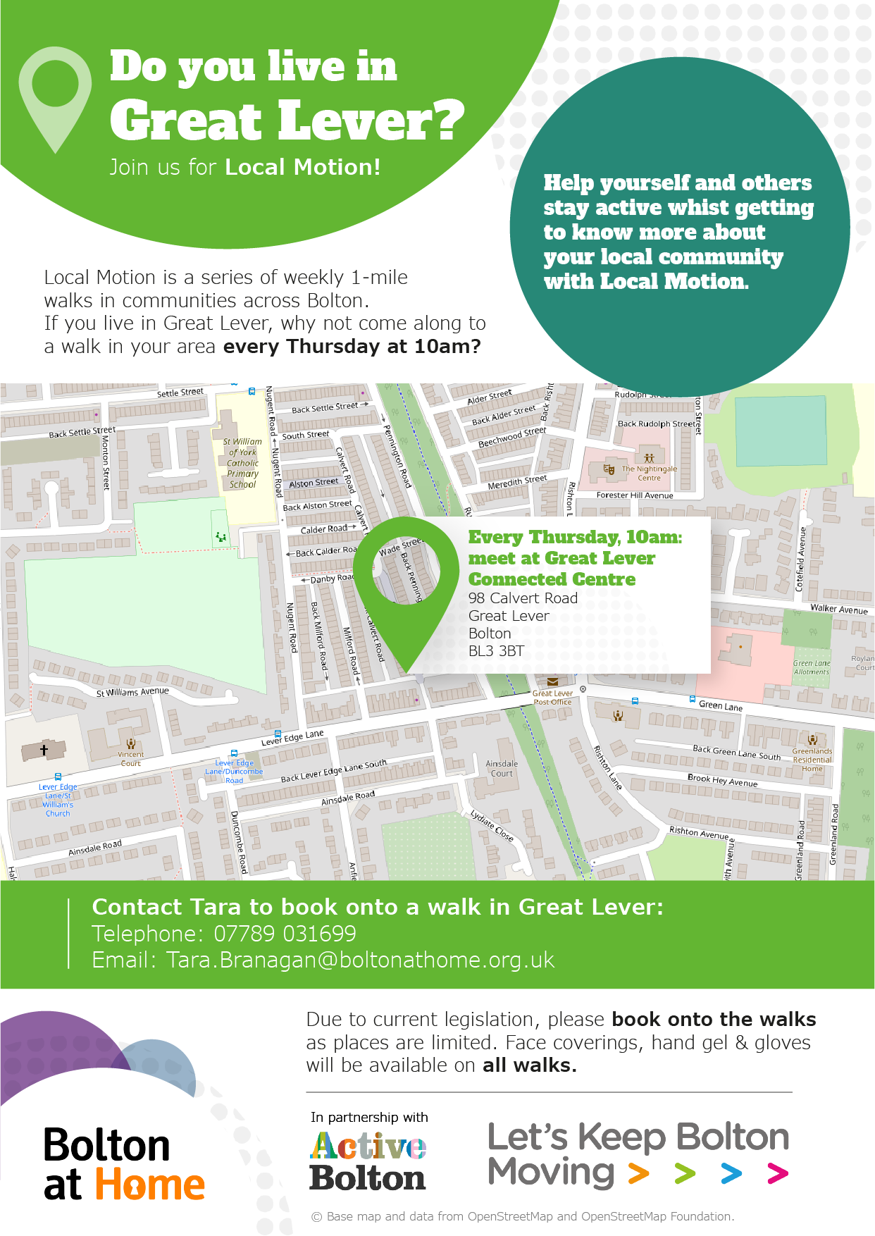 Poster displaying details of Local Motion walks in Great Lever. These details are available in text form using the table in the 'full Local Motion walks schedule below.