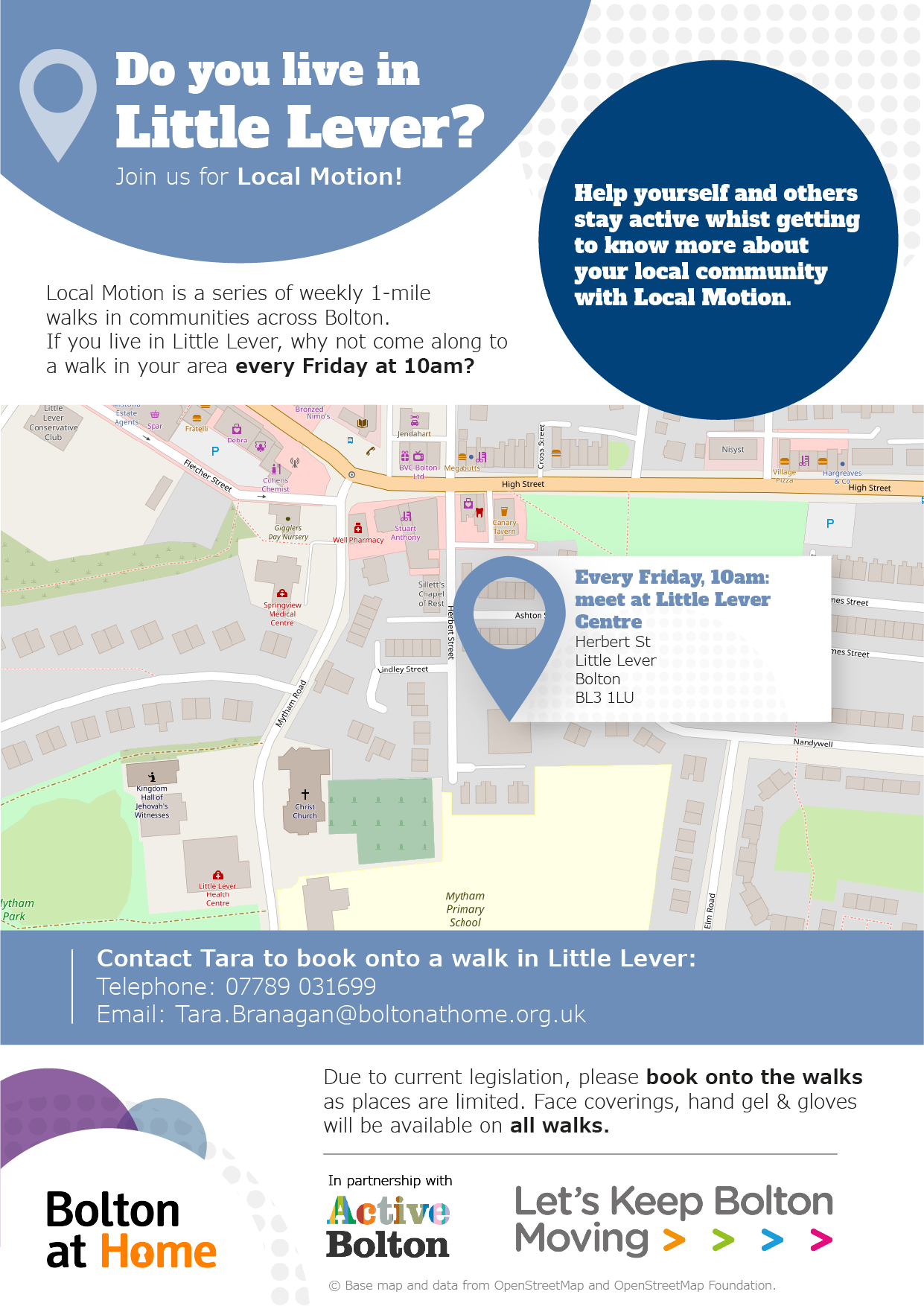 Poster displaying details of Local Motion walks in Little Lever. These details are available in text form using the table in the 'full Local Motion walks schedule below.