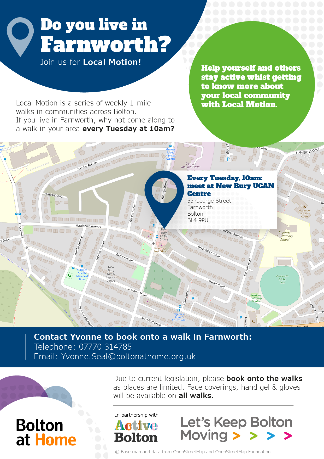 Poster displaying details of Local Motion walks in Farnworth. These details are available in text form using the table in the 'full Local Motion walks schedule below.