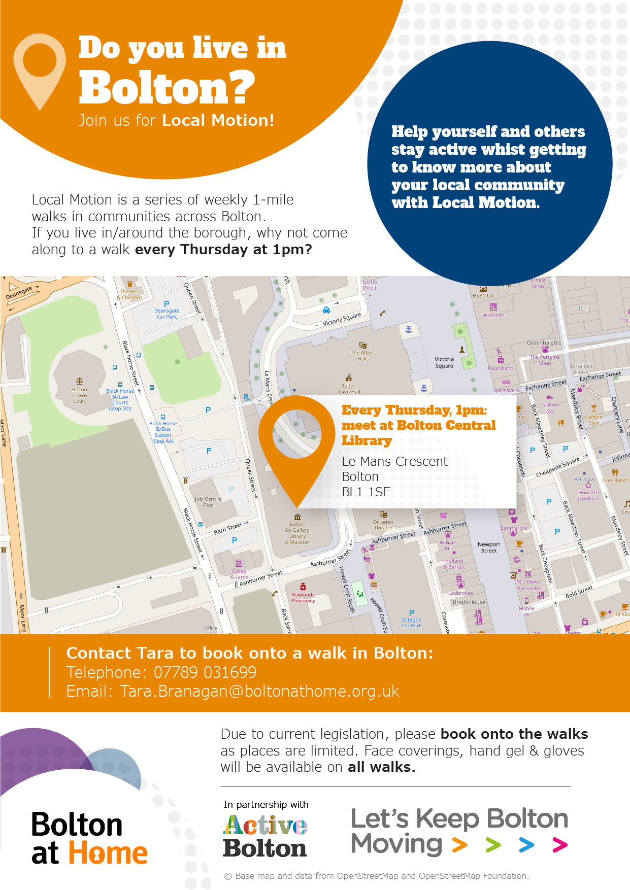 Poster displaying details of Local Motion walks in Bolton Town Centre. These details are available in text form using the table in the 'full Local Motion walks schedule below.