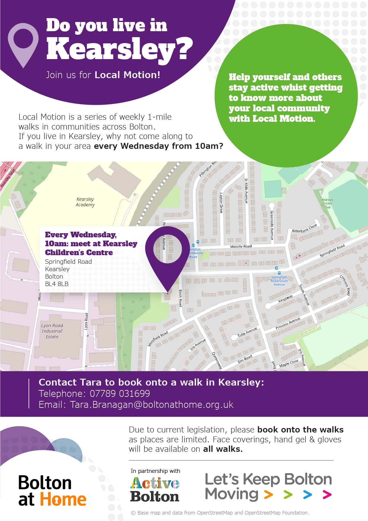 Poster displaying details of Local Motion walks in Kearsley. These details are available in text form using the table in the 'full Local Motion walks schedule below.