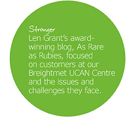 A promotional image for the As Rare as Rubies blog, reading: 'Len Grant's award-winning blog, As Rare as Rubies, focused on customers at our UCAN Centre and the issues they face.'